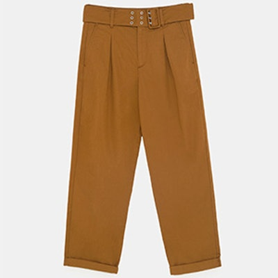 Pants With Belt And Pleats