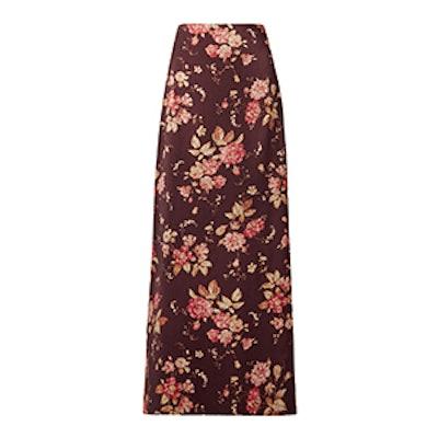 Floral-Print Wool-Blend Twill Maxi Skirt