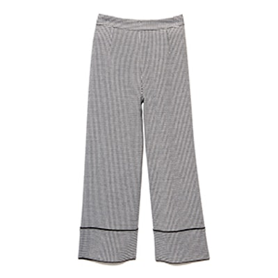 Houndstooth-Print Culotte Pants