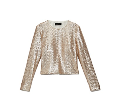 Sequined Collarless Jacket