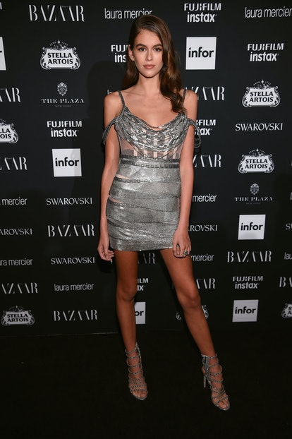 Supermodel Kaia Gerber attends Harper's BAZAAR Celebration of Icons By Carine Roitfeld at The Plaza Hotel in NYC on September 8, 2017, dressed in an Aadnevik dress and Sergio Rossi heels.
