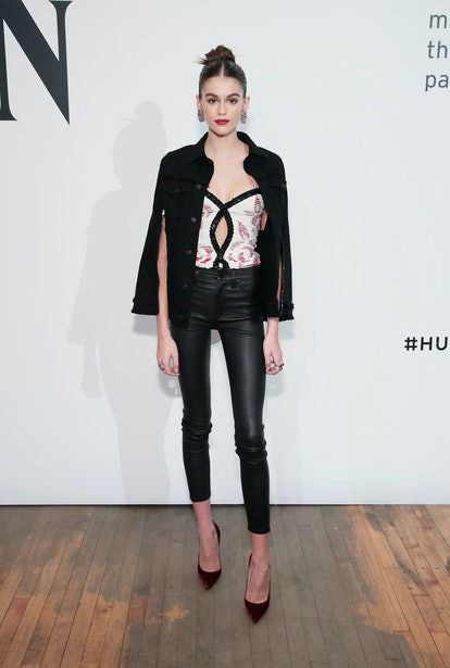 Kaia Gerber wears Hudson Jean ready-to-wear and Christian Louboutin heels while hosting the Hudson Jean Spring/Summer 2018 Preview on October 20, 2017 in New York City.