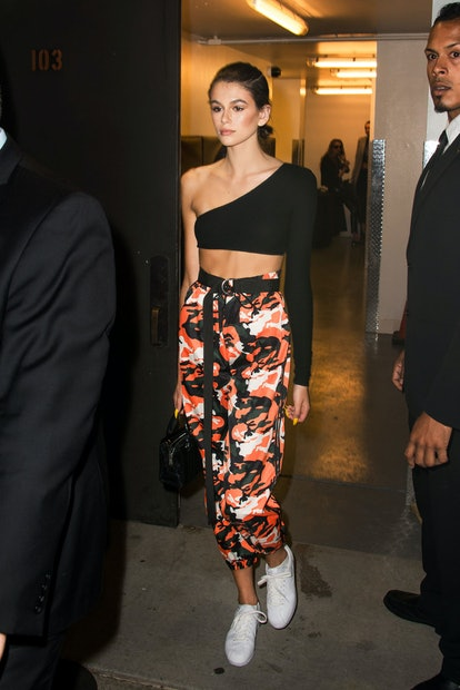 Model Kaia Jordan Gerber arrived the Fenty Puma by Rihanna Spring/Summer 2018 show on September 10, 2017 in New York City, dressed in a look that included buzzy it-Girl brands like I.AM.GIA and Are You Am I.