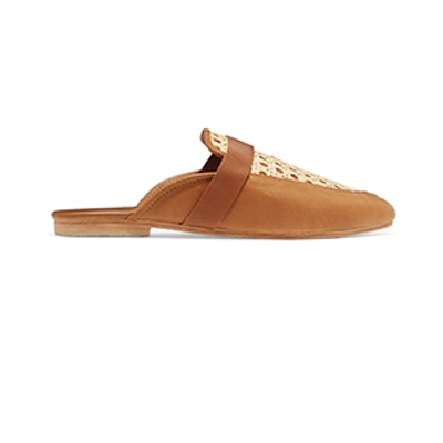 St. Agni Siena Leather And Rattan Slippers